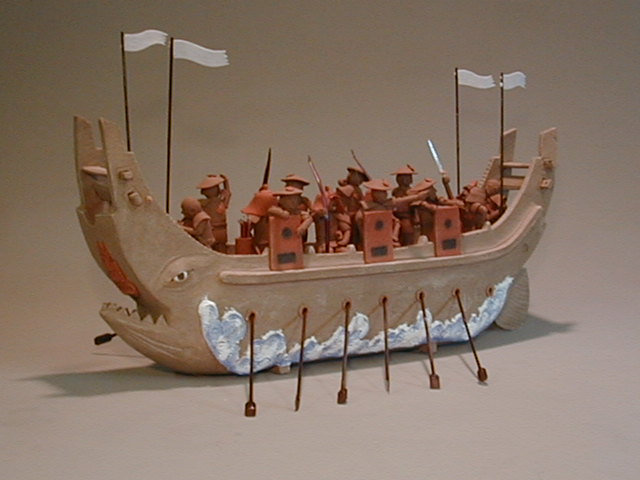 Haniwa style ship with crews